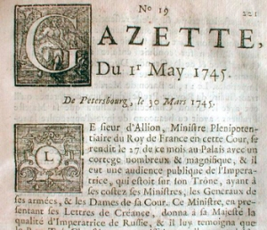 Original French Newspaper Gazette from 1745